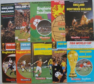 Collection of 10 different ENGLAND football programmes between 1979 and 1981